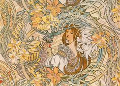 """Language of Flowers"" by Alphonse Mucha http://www.gallerydirect.com/art/product/alphonse-mucha/language-of-flowers"