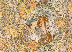 Alphonse Mucha Art Nouveau - Language of Flowers