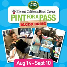 """You still have the chance to save a life!  The Big Fresno Fair and the Central California Blood Center encourage new and returning donors to go out and donate blood during the 8th Annual """"Pint for a Pass"""" Blood Drive! Every person who donates a pint of blood today through Sun, 9/10/17 at any Central California Blood Center or mobile drive will receive a voucher for a """"Buy One, Get One Free"""" admission ticket to the 2017 Big Fresno Fair! #FresnoFair #2017BFF #PintForaPass #GiveBlood"""