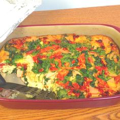 Healthy breakfast casserole. 12 servings, 190 calories per serving. Egg beaters egg whites, whole wheat bread, Canadian bacon, shredded cheddar cheese, spinach, and sundried tomatoes.