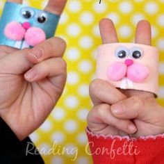 Toilet paper roll crafts, Finger puppets, Arts and crafts for kids, Paper puppets, Paper roll crafts, Preschool learning activities - cardboard box as well! - #Toiletpaper #rollcrafts Cardboard Playhouse, Cardboard Crafts, Literacy Skills, Early Literacy, Diy For Kids, Crafts For Kids, Arts And Crafts, Paper Bunny, Bunny Art