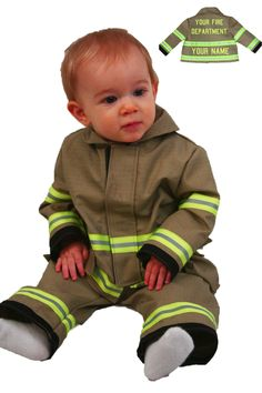 Personalized Firefighter Outfit For Baby with DEPARTMENT NAME Looks Just Like Turnout Bunker Gear Includes Jacket, Pants and Bodysuit by FullyInvolvedStch on Etsy