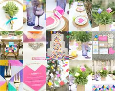 Bright geometric inspired wedding details