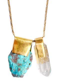 Nallik Chrysocolla & Quartz Necklace