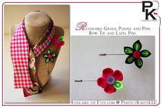 PK's Unisex Reversible Green, Purple and Pink Bow Tie with two Stick Pins. Available on Etsy.com @ https://www.etsy.com/listing/257673648/pks-unisex-reversible-green-purple-and?ref=listing-shop-header-1