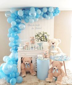 38 Ideas Baby Shower Ides For Boys Themes Teddy Bears Girls Baby Shower Deco, Cute Baby Shower Ideas, Unique Baby Shower, Baby Shower Balloons, Baby Shower Cakes, Baby Shower Themes, Baby Boy Shower, Baby Party, Baby Shower Parties