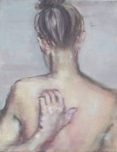 """2/17/17 Make Up Pin: Week 4 I chose this as my humorous pin because the artist coveys the emotion that is very relatable to many about not being able to itch a certain part of your back with ease.  Saatchi Art Artist Pauline Zenk; Painting, """"Girl scratching her back"""" #art"""