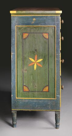 AN IMPORTANT FEDERAL RED-AND-GREEN PAINT-DECORATED YELLOW PINE AND POPLAR CHEST OF DRAWERS, ATTRIBUTED TO JOHANNES BRAUN, WITH DECORATION ATTRIBUTED TO JOHANN VALENTIN SCHULLER, JR., MAHANTONGO VALLEY, PENNSYLVANIA, 1829