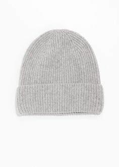 21905b84fa6ec Front image of Stories cashmere beanie in grey Grey Hat