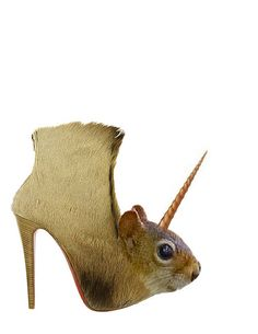 "Fantasy squirrelicorn shoes. Maybe ""kick your attacker in the nuts"" shoes got taken a tad too literally here, and they decided to COLLECT nuts too!"