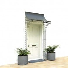 For your front door porch, Garden Requisites offer porch designs in steel. Bespoke metal porches available - Victorian porches and porch canopy designs. Porch Uk, Cottage Porch, House With Porch, Porch Roof, Porch Garden, Rose Cottage, Front Door Overhang, Front Door Porch, Door Canopy Porch