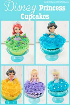 Looking for an easy way to create a big WOW for a Disney Princess Party? These Disney cupcakes, featuring five different princess cupcakes are adorable and the perfect sweet treat for any little girl's birthday party. Disney cupcakes - Disney Princess Cupcake at SunshineandHurricanes.com