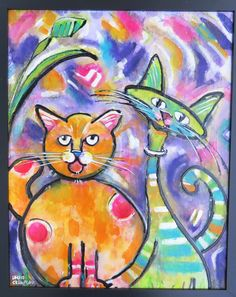 Two Cats by Debbie Crawford for sale at CityFolk Gallery in Lancaster, PA