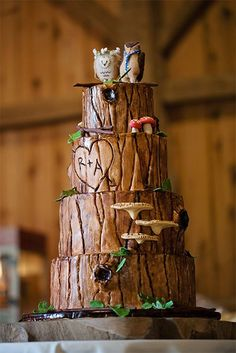 I've seen a few of these tree cakes in the rustic wedding theme, but this is just stunning... Love the owl toppers.