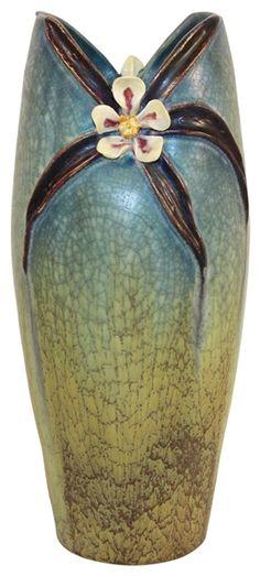 Ephraim Faience Pottery 2007 Rocky Mountain Columbine Vase E05
