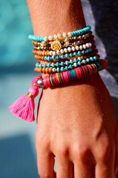 Minimalist Turquoise Stretch Bracelet Petite by HappyGoLuckyJewels