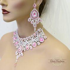 Wedding jewelry set, Crystal bridal bib necklace earrings, Indian Bollywood kundan fashion jewelry set, Hot Pink crystal evening jewelry set by GlamDuchess on Etsy Indian Bridal Jewelry Sets, Handmade Bridal Jewellery, Wedding Jewelry Sets, Bridal Accessories, Indian Jewelry, Silver Jewelry, Crystal Statement Necklace, Swarovski Crystal Earrings, Kundan Jewellery Set