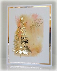 handmade Christmas card … gold Shimmer Sheetz die cut tree and mat … waterco… – Christmas DIY Holiday Cards Creative Christmas Cards, Homemade Christmas Cards, Christmas Cards To Make, Noel Christmas, Xmas Cards, Homemade Cards, Holiday Cards, Christmas Crafts, Diy Cards