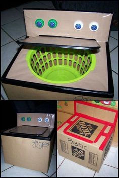 DIY cardboard washing machine is a great addition to your kids playhouse! This DIY cardboard washing machine is a great addition to your kids playhouse!This DIY cardboard washing machine is a great addition to your kids playhouse! Cardboard Playhouse, Cardboard Toys, Cardboard Crafts Kids, Cardboard Box Ideas For Kids, Diy Karton, Kids Furniture, Playhouse Furniture, Garden Playhouse, Modern Furniture