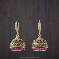 Collection of Indian Jewellery Designs Gold Jhumka Earrings, Jewelry Design Earrings, Gold Earrings Designs, Designer Earrings, Necklace Designs, Jhumka Designs, Jewellery Designs, Pearl Earrings, Antique Jewelry