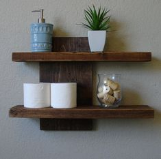 Modern Rustic 2 Tier Floating Wall Shelf by KeoDecor on Etsy