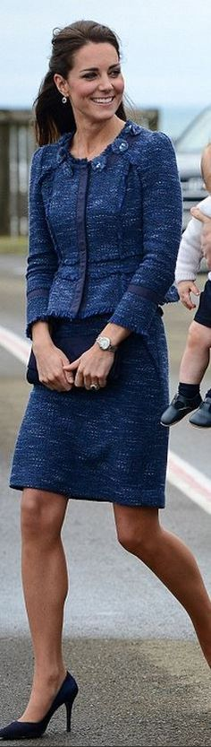 Kate Middleton wearing Prada Pumps Rebecca Taylor Tweed Jacket Rebecca Taylor Tweed Skirt Stuart Weitzman navy suede Muse clutch Ballon Bleu De Cartier Stainless Steel Watch