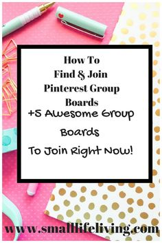 How to find and join Pinterest group boards. http://www.smalllifeliving.com (scheduled via http://www.tailwindapp.com?utm_source=pinterest&utm_medium=twpin&utm_content=post140300831&utm_campaign=scheduler_attribution)