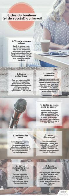 French infographic - 8 keys to happiness and success Positive Mind, Positive Attitude, Coaching, Miracle Morning, Burn Out, Key To Happiness, Meditation, Co Working, Anti Stress
