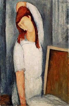 art-centric:  Portrait of Jeanne Hebuterne with her Left Arm Behind her Head Amedeo Modigliani, 1919