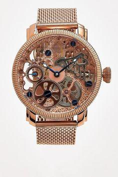 Stainless Mechanical Skeleton Mesh Bracelet Watch - Akribos XXIV - Watches : JackThreads