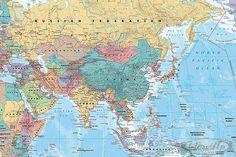 Asien und Mittlerer Osten Landkarte Poster