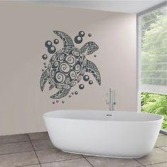 WANDTATTOO Wandaufkleber Schildkröte Wasser Bad Wellness Bubbles Motiv 731 XL