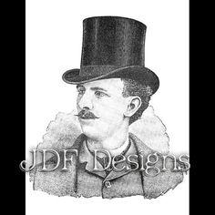 Instant Digital Download, Vintage Victorian Era Graphic, Antique Man in Top Hat, Printable Image, Scrapbook, Gentleman