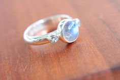 Moonstone and White Topaz Ring Sterling Silver Moonstone Engagement Ring Topaz Promise Ring Silversmithed Metalsmithed