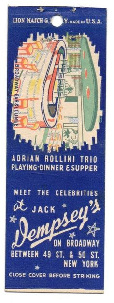 Beach vintage matchbook covers | ... Broadway Bar & Lounge, Matchbook Cover - Store Item# BEACHGUY951