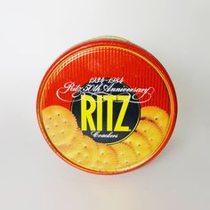 1984 Nabisco Ritz Crackers Round Metal Tin - TFD663 - Vintage 1984 Nabisco Ritz Crackers 50th Anniversary 12 oz. round cracker tin canister  - For sale at www.ClaudiasBargains.com