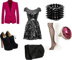 """Pink Black & Glitery"" by emma-lee97 on Polyvore"