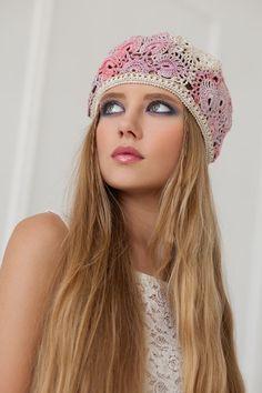 Accessories, Hats & Caps, Berets & Tams, Berets, Lace summer hat, Crochet summer hat, Women's hat beret, White crochet, White flower hat, Women's beret, Women's hat, cotton yarn, womens hats.