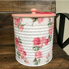 Tin Can Crafts, Diy And Crafts, Decoupage, Log Homes, Hamper, Planters, Canning, Metal, Vintage