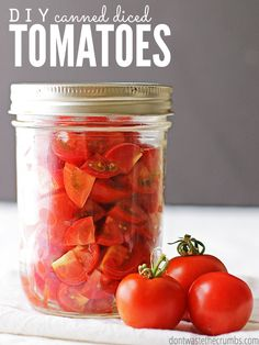 Easy tutorial for homemade canned diced tomatoes using the water bath method & raw tomatoes. Great for preserving tomatoes for winter & saving money later!