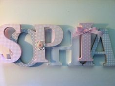 "Nursery wooden  wall letters in pink and gray nursery letters child's name 8 "" wall letters initial monogram by SummerOlivias on Etsy https://www.etsy.com/listing/158518153/nursery-wooden-wall-letters-in-pink-and"