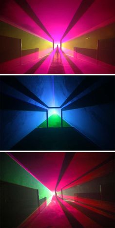Melbourne-based media artist Jayson Haebich incorporates the latest innovations in technology in an artistic context. His series of light sculptures titled Vector Space use laser light, smoke, shadows, physical shapes and custom built software to create complex compositions of shadow and light.