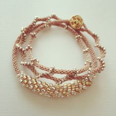 Kumihimo Wrap Bracelet with Gold Button Nude 20 by PetitKnot