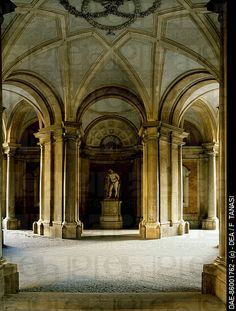 Entrance Hall at ground floor, statue of Hercules, Royal Palace of Caserta (UNESCO World Heritage List, 1997), Campania. Italy, 18th-19th century-