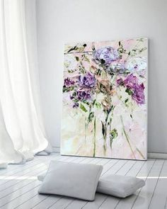 Items similar to Oil Painting Original Abstract Mountain Flowers Rose on Canvas Palette Knife Painting Modern Flower Painting Art Yellow grey wall art Gray on Etsy Blue Painting, Oil Painting On Canvas, Painting Prints, Art Original, Original Paintings, Art Mural, Wall Art, Art Decor, Decoration