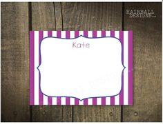 Custom Stripe Birthday Thank You Notes by HairballDesigns on Etsy, $50.00