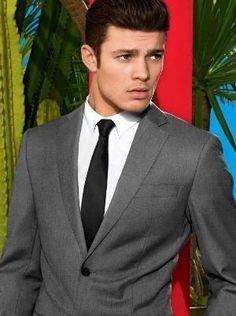 grey suit black tie