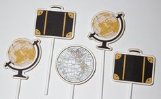 Vintage Travel Destination Cupcake Toppers by PaperletteDesigns
