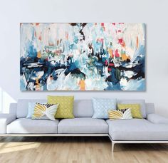 Daydreaming 4, a Perfect Lie abstract painting by Omar Obaid. A large original vibrant abstract painting with a mixed palette of blues, greens, pink and gold. Dimensions: 150 x 76 cm. Original modern contemporary painting. Free Delivery on OmarObaid.com.