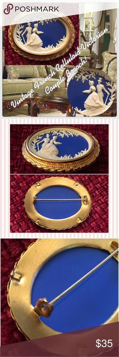 """Vintage French Celluloid Victorian Couple Brooch! Vintage French Celluloid Victorian Couple Brooch! The oval brooch is Circa 1940's and is made of two layers of molded celluloid or French Ivory. The 3D scene is a couple walking in the country with a blue background. Measures 2"""" wide by nearly 1 1/2"""" high. Wonderful gold plated frame & rollover clasp. No damage. Excellent condition. Offers welcomed! Vintage Jewelry Brooches"""